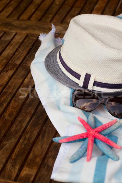Toalla de playa marco verano estrellas de mar sombrero Foto stock © neirfy