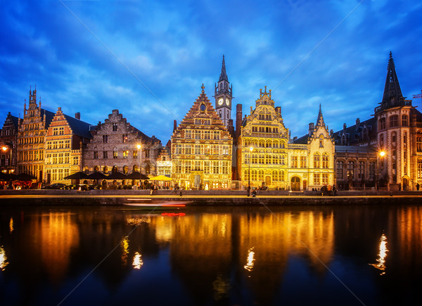 Embankment of old town at night, Ghent Stock photo © neirfy