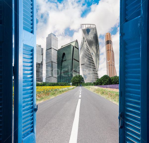 Quarto abrir a porta cidade moderno imaginação sonhos Foto stock © neirfy