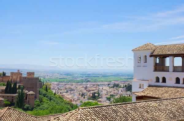 Alhambra város Spanyolország virág fa épület Stock fotó © neirfy