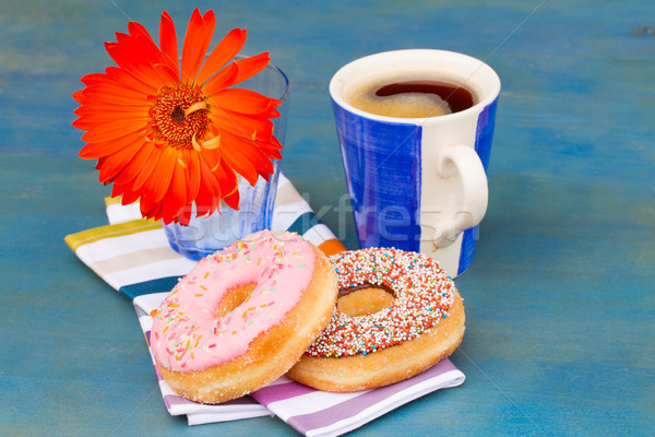 breakfast with black coffee and donuts Stock photo © neirfy