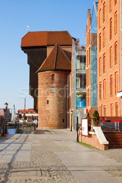 Danzica view gru blu architettura Europa Foto d'archivio © neirfy