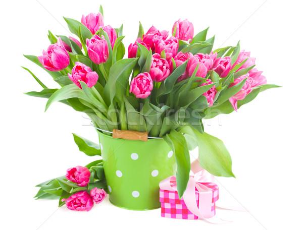 Virágcsokor rózsaszín tulipánok zöld edény izolált Stock fotó © neirfy