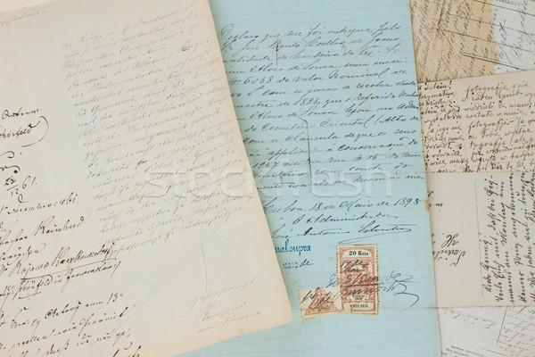 Stock fotó: Kézzel · írott · levél · szett · klasszikus · antik · levelek