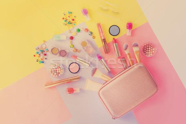 Colorful make up flat lay scene Stock photo © neirfy