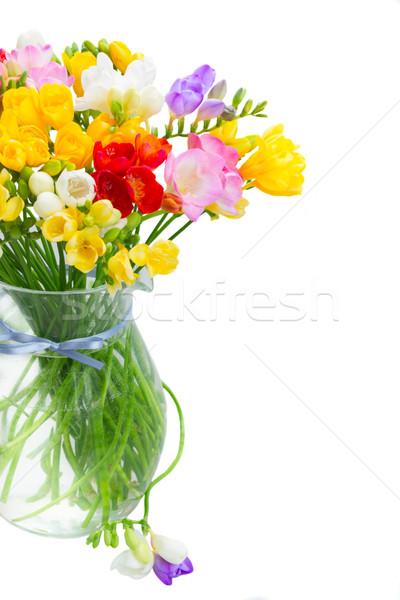 Bukiet jasne wiosennych kwiatów wiosną kwiaty szkła Zdjęcia stock © neirfy
