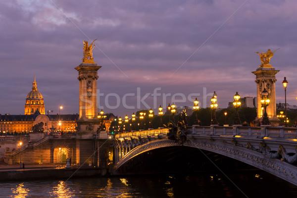 Stok fotoğraf: Köprü · Paris · Fransa · mor · gece · şehir