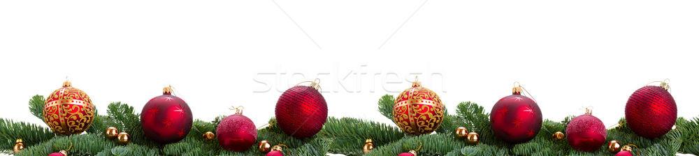 örökzöld fenyőfa piros karácsony labda ágak Stock fotó © neirfy