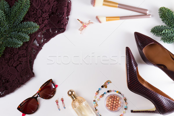 Fashion Christmas flat lay scene Stock photo © neirfy