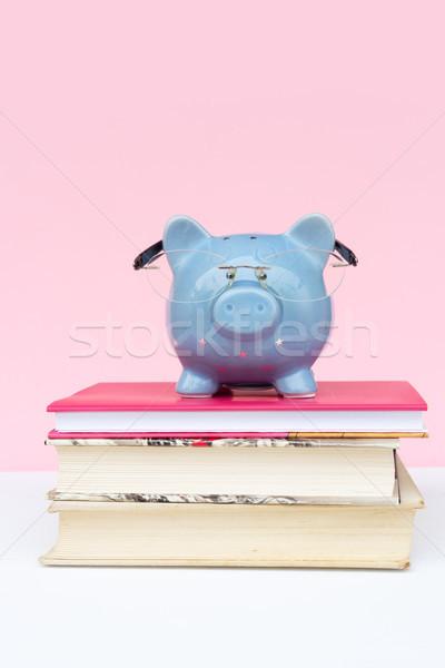 Megtakarított pénz persely szemüveg köteg könyvek könyv Stock fotó © neirfy
