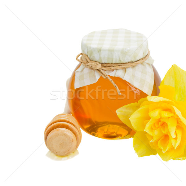 floral honey in glass pot Stock photo © neirfy