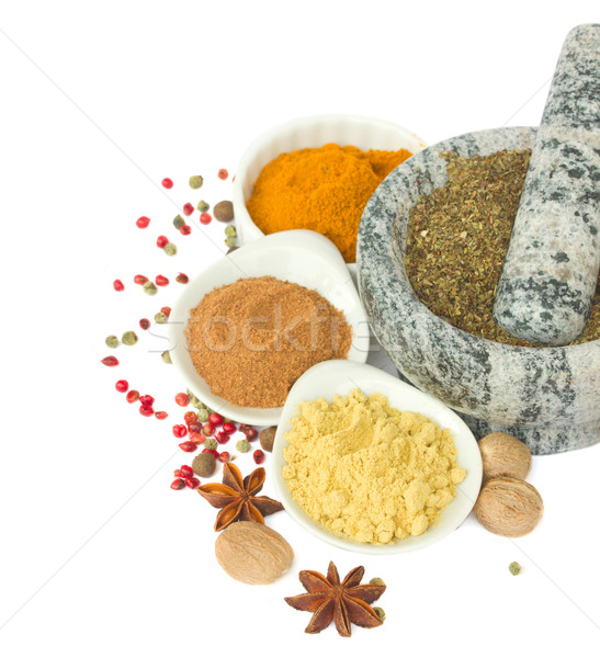 mortar with  spices isolated on white Stock photo © neirfy