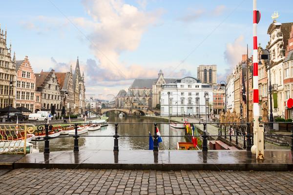 порт старые зданий день небе воды Сток-фото © neirfy