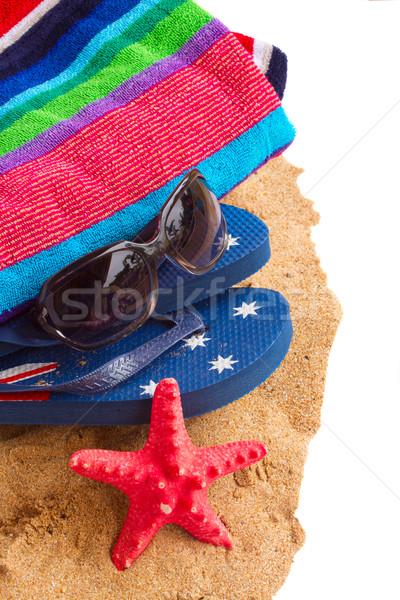 полотенце сандалии песок границе изолированный белый Сток-фото © neirfy