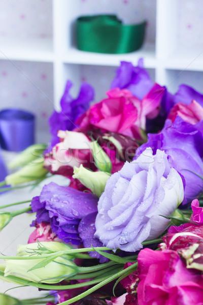 Mor leylak rengi çiçekler tablo doğa yaprak Stok fotoğraf © neirfy