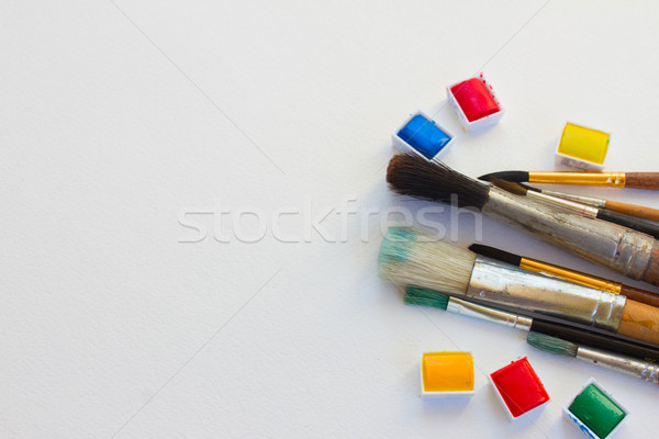white canva with watercolor paints Stock photo © neirfy