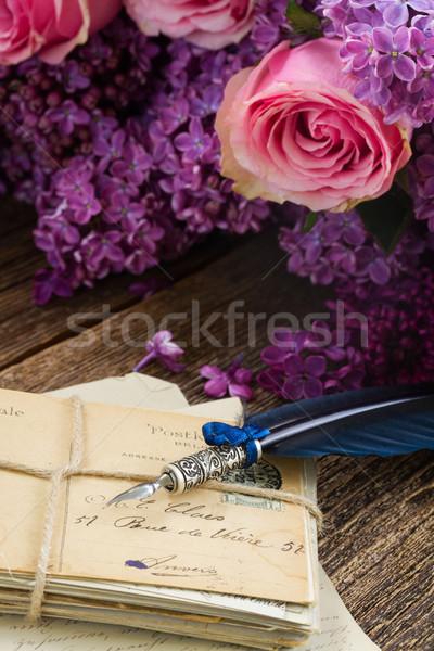 Pena caneta velho flores azul escritório Foto stock © neirfy