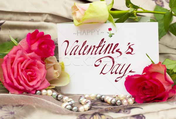 Güller inciler boş kart mutlu sevgililer günü tebrik Stok fotoğraf © neirfy