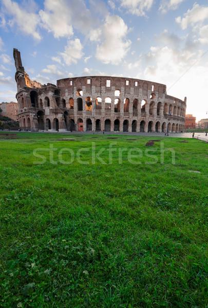 Colosseum zonsondergang Rome Italië ruines antieke Stockfoto © neirfy