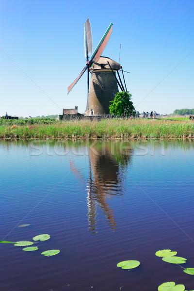 オランダ語 風車 川 伝統的な 反射 運河 ストックフォト © neirfy