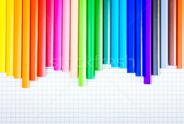 De volta à escola lápis arco-íris papel fronteira retro Foto stock © neirfy