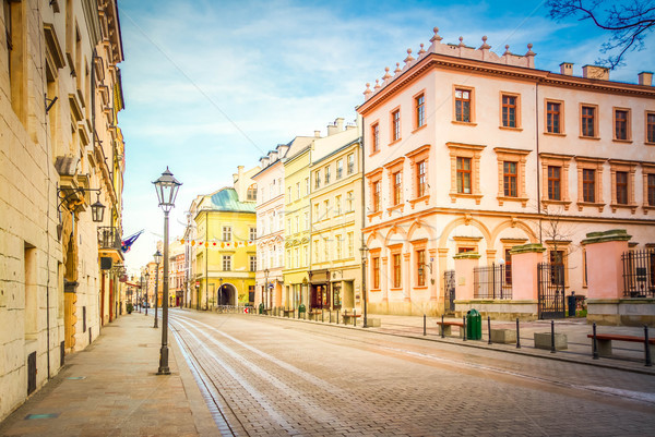 Straat oude krakow Polen middeleeuwse stad Stockfoto © neirfy