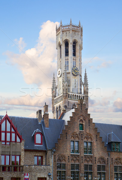 roofs of old houses with Belfort tower, Bruges Stock photo © neirfy