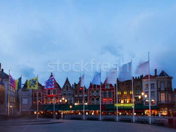 średniowiecznej budynków rynku placu noc niebo Zdjęcia stock © neirfy