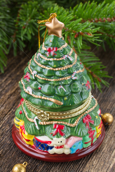 Natale evergreen albero decorazione tavolo in legno vetro Foto d'archivio © neirfy
