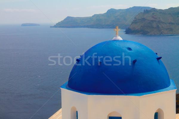 Kilátás kék Santorini vulkán tenger templom Stock fotó © neirfy