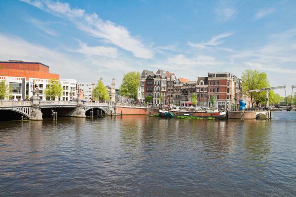 Blauw brug Amsterdam rivier voorjaar dag Stockfoto © neirfy