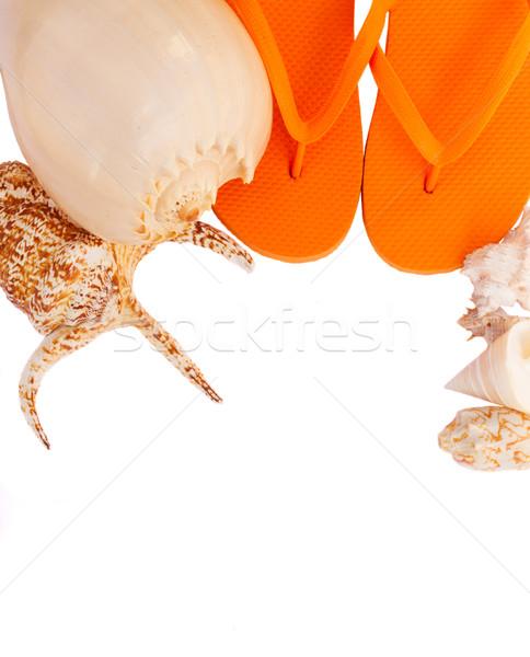 оранжевый сандалии снарядов песок изолированный белый Сток-фото © neirfy
