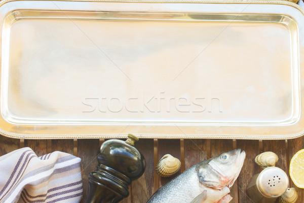 Lege zilver dienblad ingesteld vis schelpdier Stockfoto © neirfy