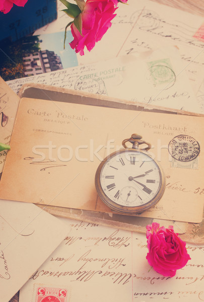 vintage  letter  with  old clock Stock photo © neirfy
