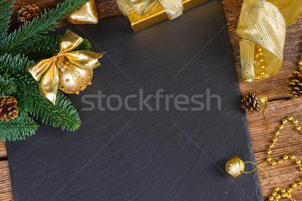 örökzöld fa arany díszítések karácsony keret Stock fotó © neirfy