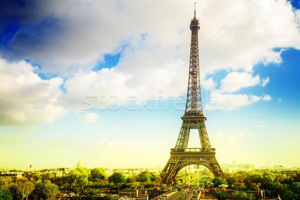 Eiffel turné Párizs domb Franciaország retro Stock fotó © neirfy