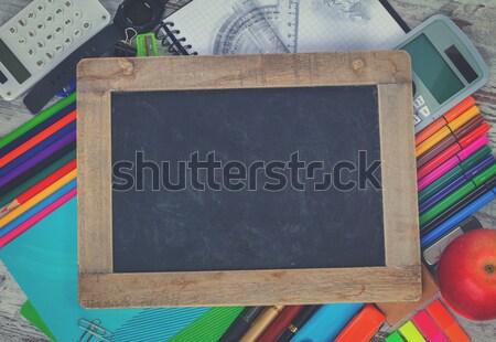 Tábla tanszerek üres copy space retro iskola Stock fotó © neirfy