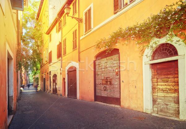 Utca Róma Olaszország óváros olasz napsütés Stock fotó © neirfy
