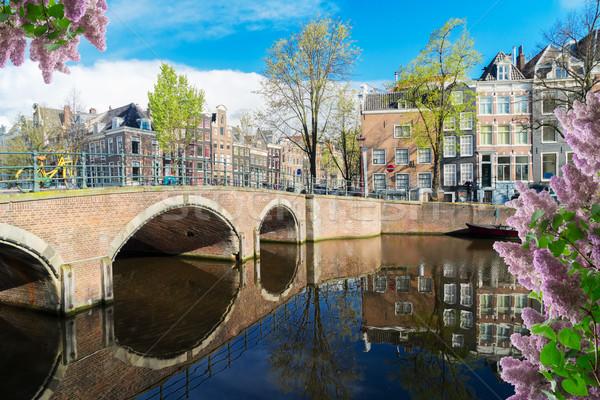 Casas Holanda canal belo reflexões Foto stock © neirfy