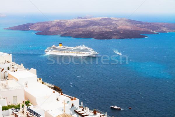 Santorini vulkán tenger hajók Görögország város Stock fotó © neirfy
