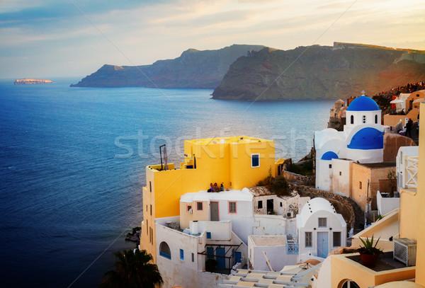 Belo detalhes santorini ilha azul igreja Foto stock © neirfy