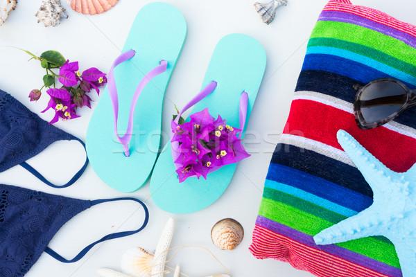 Verano playa diversión sandalias natación traje Foto stock © neirfy
