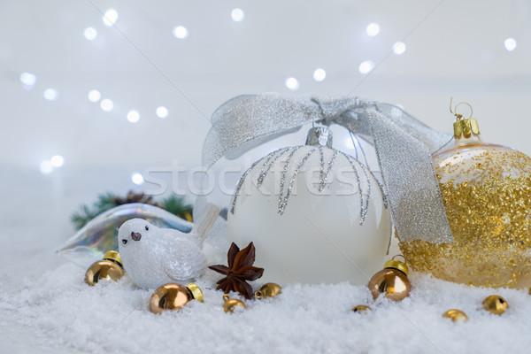 Stok fotoğraf: Beyaz · Noel · kar · kuş · süslemeleri · altın