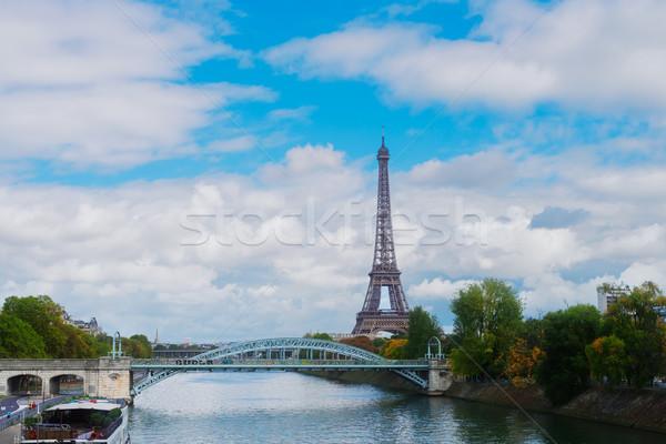 Eiffel tur nehir köprü Paris Fransa Stok fotoğraf © neirfy
