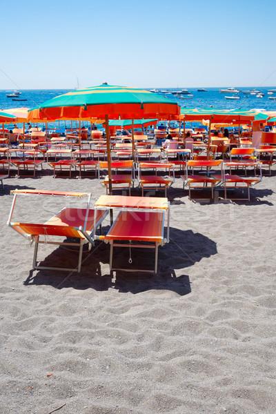 курорта Италия красочный стульев пляж известный Сток-фото © neirfy