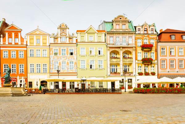 Huizen Polen centraal markt vierkante retro Stockfoto © neirfy