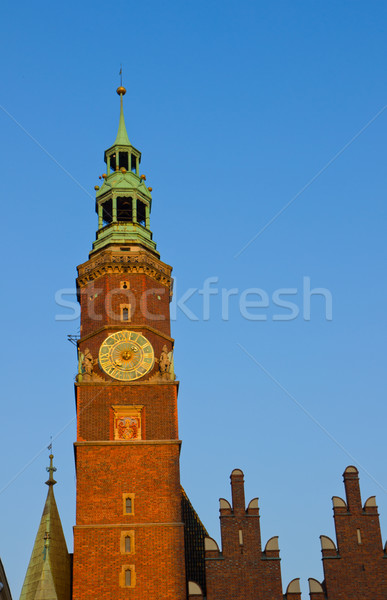clock tower of city hall, Wroclaw Stock photo © neirfy