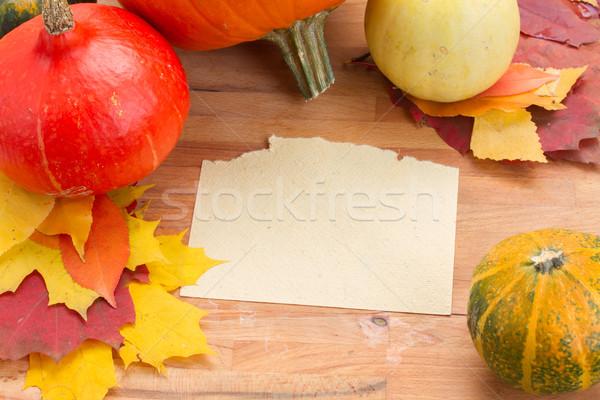 Calabaza mesa página marco naranja calabazas Foto stock © neirfy