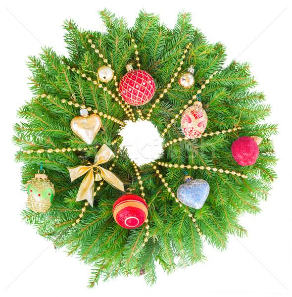 Foto d'archivio: Natale · ghirlanda · evergreen · albero · decorazioni · isolato