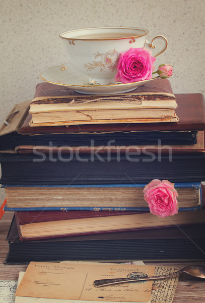 books  with cup of tea Stock photo © neirfy